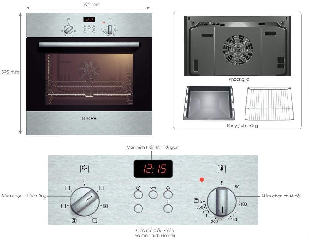 Hệ thống bảng điều khiển cơ lựa chọn chức năng nướng và nhiệt độ dễ dàng chính xác