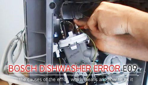 Mã lỗi máy rửa chén Bosch e09