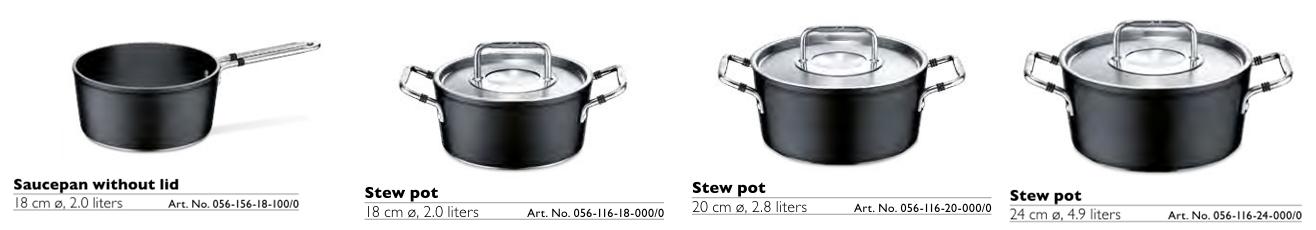 Bộ nồi Fissler Luno set 4 chiếc bao gồm những sản phẩm theo thứ tự từ trái sang phải như sau