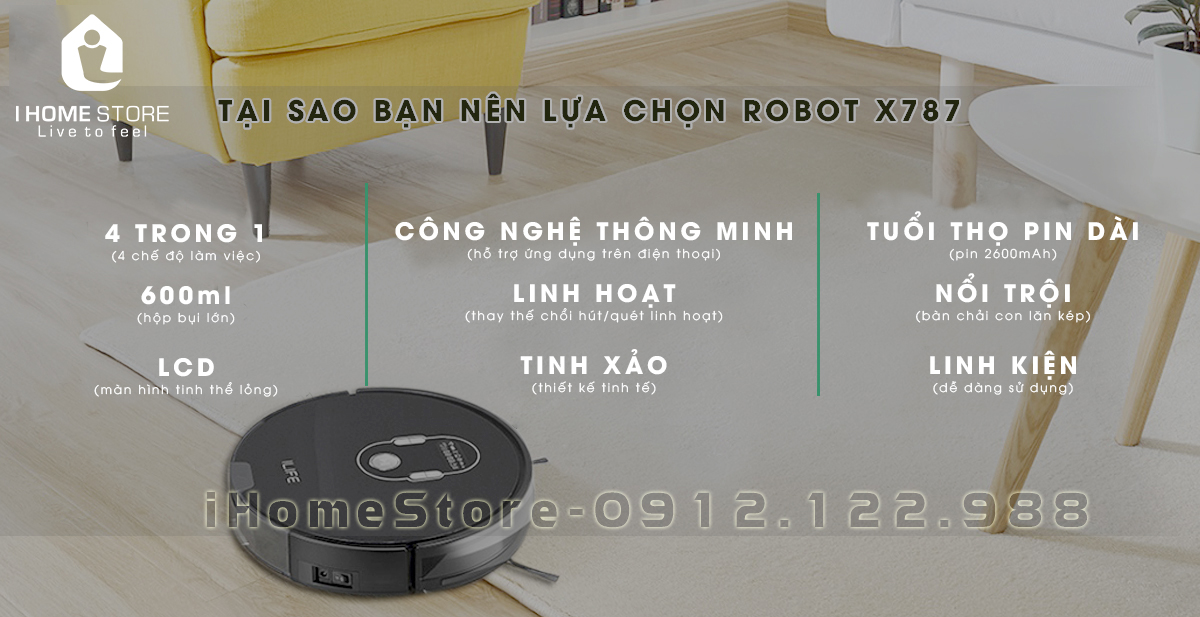 robot hut bui lau nha theo ke hoach ILIFE X787 - ihomestore.vn