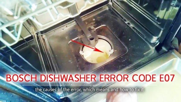 Mã lỗi máy rửa chén của Bosch e07