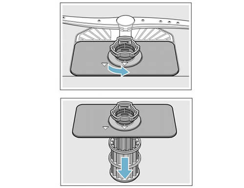 Vệ sinh bộ phận lọc rác của máy rửa bát Bosch để tránh tắc nghẽn