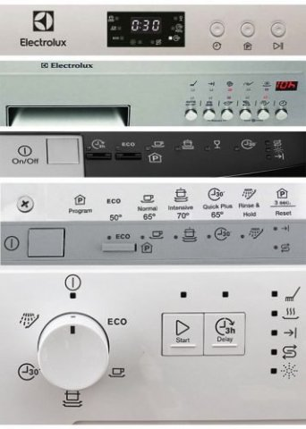 màn hình máy rửa chén electrolux