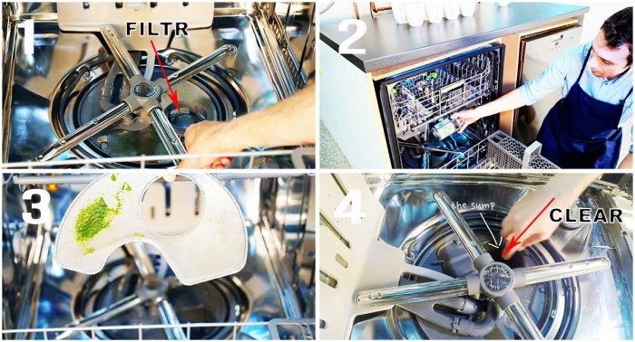 Cách vệ sinh bộ lọc máy rửa chén Electrolux